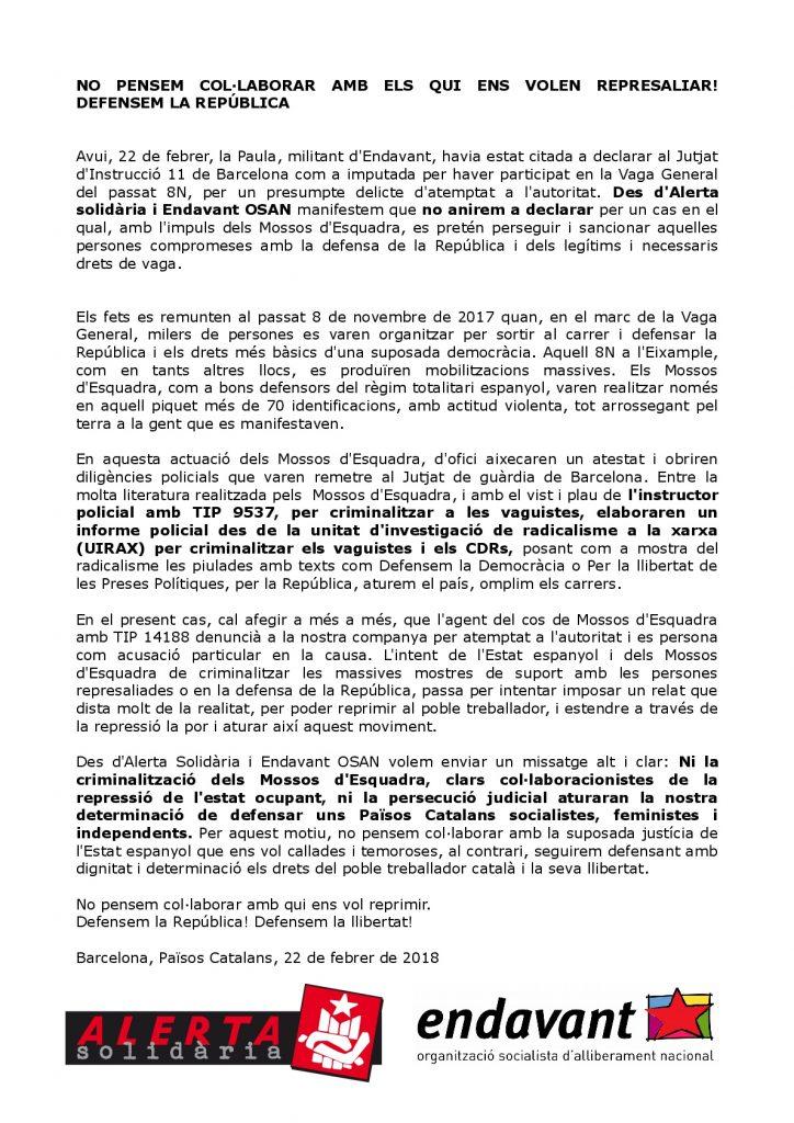 Comunicat d'Endavant (OSAN) i Alerta Solidària